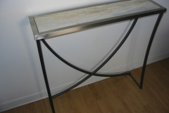 Réalisation table pied métal et verre Lyon